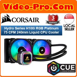 Corsair Hydro Series H100i RGB Platinum 75 CFM Liquid CPU Cooler