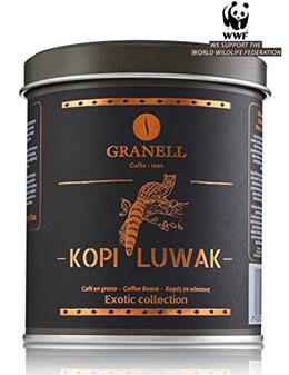 Cafs Granell Wild Kopi Luwak Coffee Whole Beans, 100grams (3.5oz)