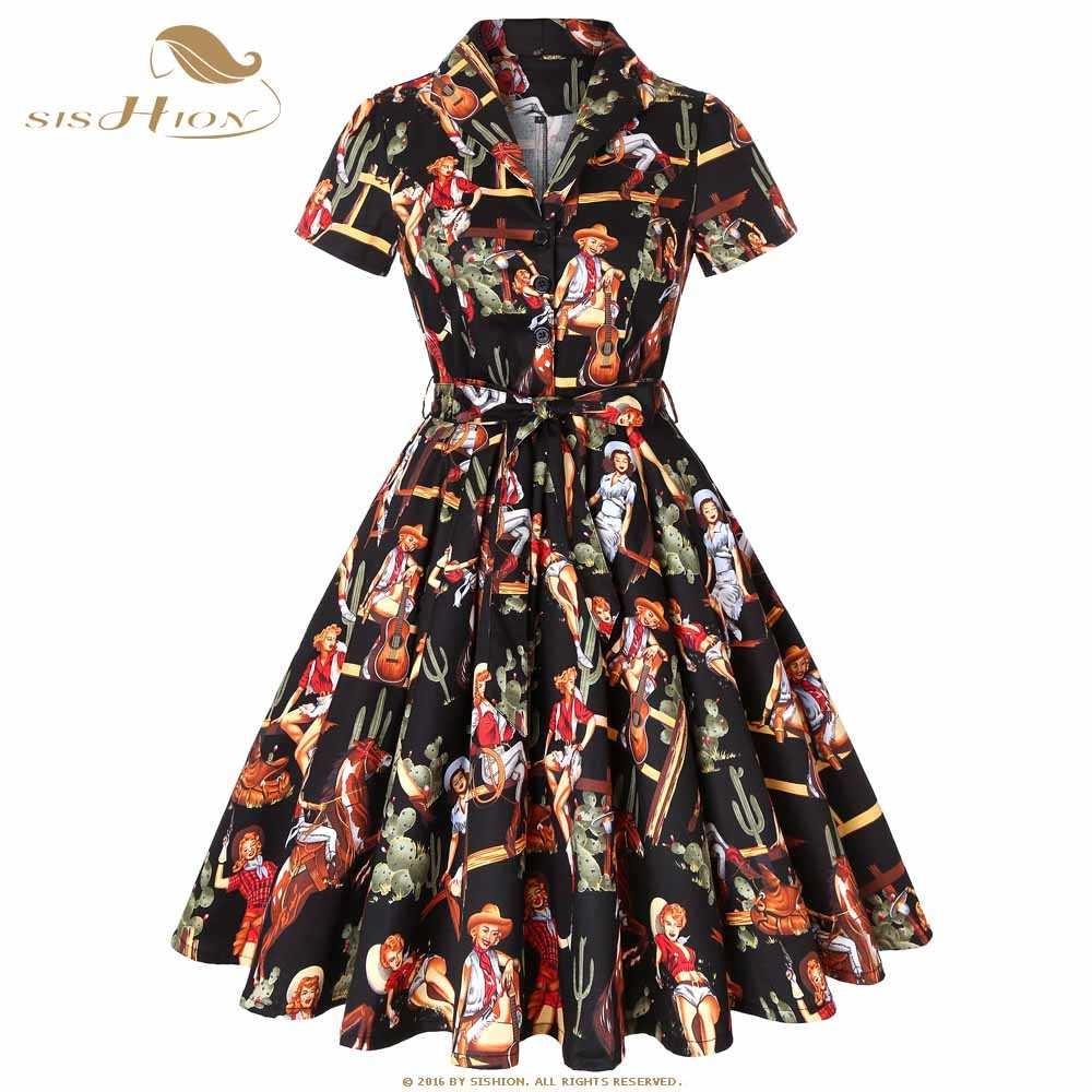 discount SISHION Cotton Plus Size Retro Vintage Rockabilly Dress Black with  Cowgirl Print Short Slee