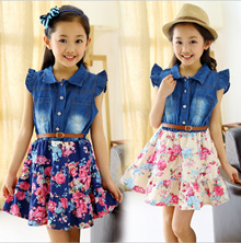 90-150cm height Girls Sleeveless Jean Top Short Skirt one-piece wear