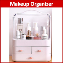 Makeup Organizer with Handle Cover Portable Hand Carry Cosmetic Storage Drawer Box