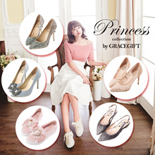 Gracegift-Disney Princess Cinderella Belle Snow White Heels/Women/Ladies/Girls Shoes/Taiwan Fashion