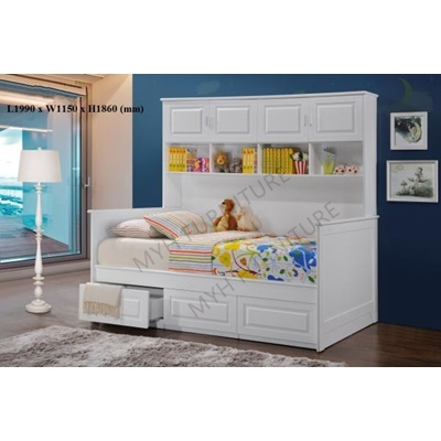 Bedflame With Storage Children Bed Full White Pull Out