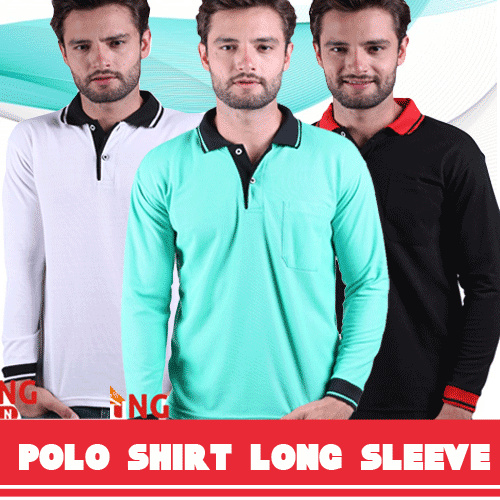 Polo Shirt / Kaos Kerah Tangan Panjang Kombinasi Deals for only Rp60.000 instead of Rp60.000