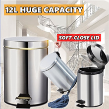 SOFT CLOSE! HUGE CAPACITY 8L 12L Stainless Steel Waste bin Dustbin HOME KITCHEN RACK