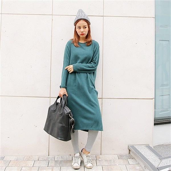クルリクエンミソインの起毛トゥイムワンピース 無地ワンピース/ワンピース/韓国ファッション
