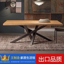 European iron wood table simple desk custom  table reception staff desk and chair combination