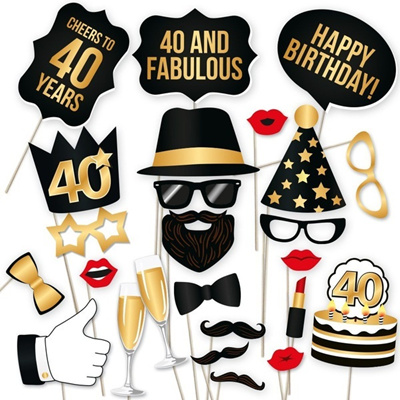 DIY 40th Birthday Party Photo Booth Props Kit Suitable For His Or Hers Fabulous Celebrati