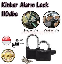 ★SG Seller★ Siren Alarm Lock Anti-Theft Security System Door Gate Motor Bike Bicycle Motorcycle Padlock Pad Lock 110dB★with 3 Keys + 6 Button Battery★