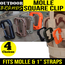 ☀MOLLE SQUARE CLIP ☀ ITX Grimloc Carabiner ☀Work with MOLLE/1 inch straps WITHOUT Dismantling☀