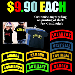 Shirt Printing/Personal/Army/Infantry/Signal/Commando/Guards/Personal Name/Kids Side/Adult Size/