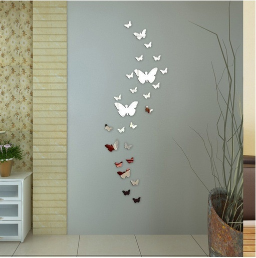 Qoo10 12pcs Decorative Mirror 3d Butterfly Wall Decor Poster Vintage Mirror Kitchen Dining