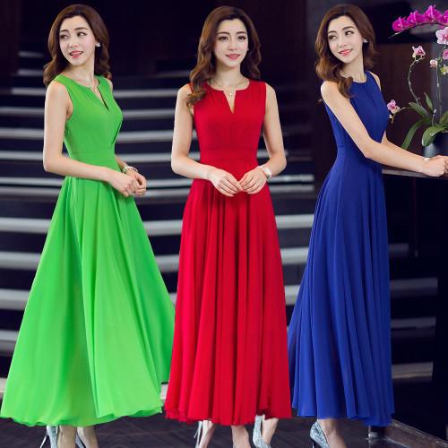2017春と夏の腰に大きなスイングスカートハーフオープン襟ノースリーブシフォンドレスシフォンドレス薄かったです/韓国 ファッション ワンピース/Tシャツ/シャツ/韓国ファッション/ワンピース