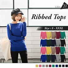 OB DESIGN ★ OBDESIGN ★ ORANGEBEAR ★ LONG SLEEVE KNITTED RIBBED TOPS ★ 20 COLORS ★ S-XXXXL SIZE