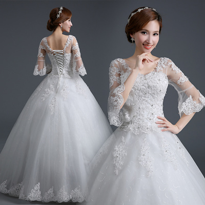 Korea Hot Trend Lace Wedding Dresses Plus Size Vintage Wedding Dress 2016 Winter Wedding Gowns Bridal Mariage Floor Length Special Occasion