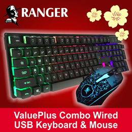 RANGER ValuePlus Combo Wired USB Keyboard  Mouse RG2ACKB366 / 1 Year Local Warranty