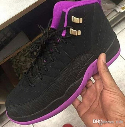 New Released Retro 12 Hyper violet Basketball 510815-018 GS 12s Women  Sneaker Black Pink 67e27f1a46