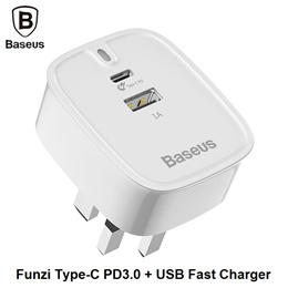 Baseus Funzi USB + Type-C Fast Quick Charge Charger Travel Adapter PD3.0