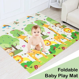 Baby Play Mat - Toddler Child Foldable Crawl Playmat Non Toxic Non Slip 2 Side Reversible Waterproof