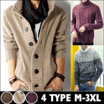 ニット メンズ リブニット タートルネックセーター ニット セーター 長袖 ケーブル編み XL 2L 3L 大きいサイズ