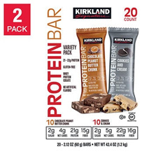 Kirkland Signature Protein Bars Chocolate Peanut Butter Chunk  Cookies and Cream Variety Pack 20pcs