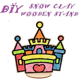 New! Snow clay art 3D foam craft EVA snowflakes wooden stand Snow Mud Goodies Bag DIY Art Craft