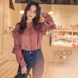 YOCO - Frill Layer Sleeves Blouse-172873-Winter