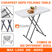 CHEAPEST 122 / 86 / 76 / 70cm HDPE Folding Table - Holds Up To 400KG / Industrial Grade