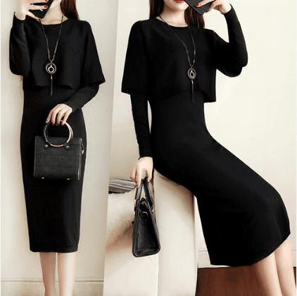 スタイリッシュで快適なファッションを縫う腰の長袖のソリッドカラーラウンドネック2017ドレス秋韓