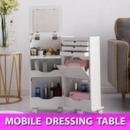Mobile Portable Dressing Table Mirror Storage Cabinet Organizer with Wheels / Cosmetics / Makeup
