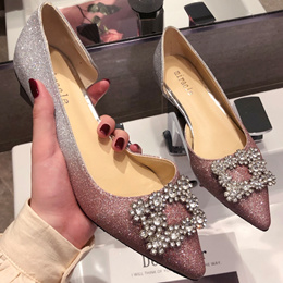 Pointed Toe rhinestone gradient shoe woman 2019 summer new Vintage net red low heel late fairy shoes
