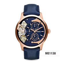 *FOSSIL GENUINE* Townsman Multifunction Navy Leather Watch ME1138! Free Shipping and Warranty!