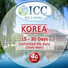 ◆ ICC◆【Korea Sim Card 15-60 Days】Unlimited 4G data(No slow Speed) (ICC◆Daily Max)❤ Plug And Use