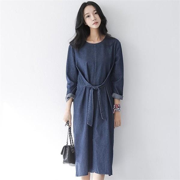 [アーバンフラン]イブリボン青ワンピース(2color)/コットン100%new ロング/マキシワンピース/ワンピース/韓国ファッション