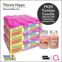 [RB]【FREE Yankee candle worth $39】Thirsty Hippo Dehumidifier 600ml x 24 units | From SG