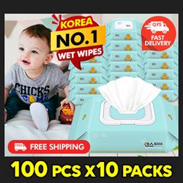 KOREA No.1 Wet Wipes  [SENSE] Mint Cap Type 100pcs x10packs