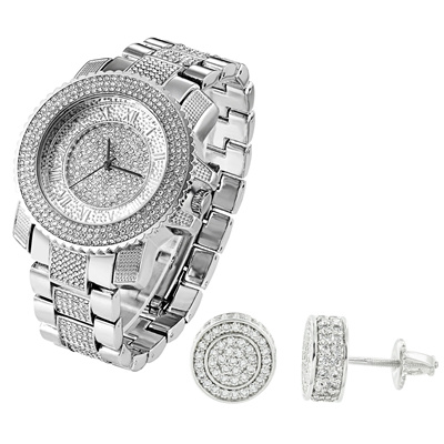 Qoo10 Full Iced Out Techno Pave Watch Silver Tone Lab Diamonds