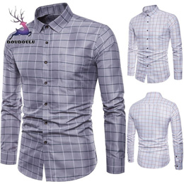 shop business casual men shirts long sleeve Mens Long Sleeve Oxford Formal Casual Plaid Slim Fit Tee