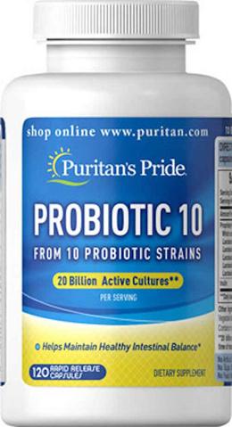 *FREE SHIPPING* Puritans Pride Probiotic 10 20 Billion 120 Capsules