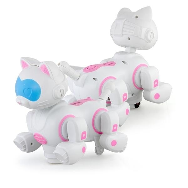 Pink Robotic Electronic Walking Pet Cat Puppy Kids Toy With Music Light  Model 1