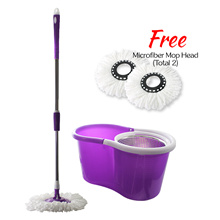 [Free Shipping] Daisu Magic Stainless Steel 360° Easy Spin Mop Microfibre Spin Mop (2 Mop Heads)