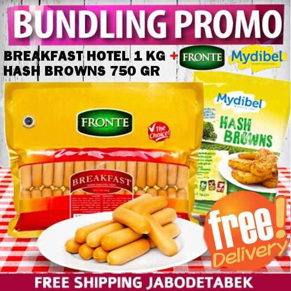 PROMO BUNDLING Sosis Fronte Breakfast Hotel 1KG+Mydibel HASH BROWN 750gr FREE SHIPPING JABODETABEK Deals for only Rp128.900 instead of Rp128.900