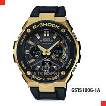 [APPLY 25% OFF COUPON] G-Shock G-Steel Black N Gold Watch GSTS100G-1A. Free Shipping and Warranty!