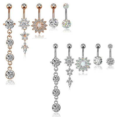 5pcs 14g 316l Stainless Steel Dangle Belly Button Rings For Women Navel Rings Curved Barbell Body Pi