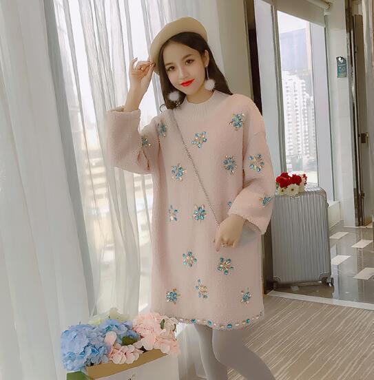 [55555SHOP]韓国ファッション・ポリエステルボア・秋冬シンプル・レディース・パーカー・袖二段ファーポイントスウェット