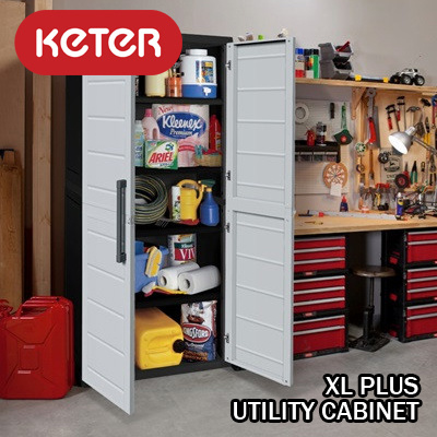 [Keter] XL Plus Utility Cabinet. Extra large indoor and outdoor home storage plastic & Qoo10 - XL Plus Utlty : Furniture u0026 Deco