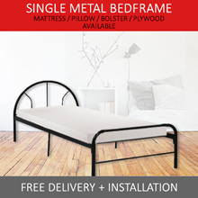 SINGLE SIZE METAL BEDFRAME  (MATTRESS/ PLYWOOD OPTIONS AVAIL) FREE DELIVERY+INSTALLATION