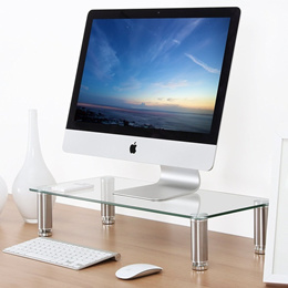 Fitueyes clear glass Computer Monitor Riser Over Keyboard Stand Desktop Organizer Stand