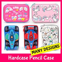 ♥42 Designs♥Smiggle Quality Hardtop Pencil Case Box Holder★Embossed Design Kids Stationery