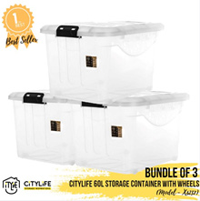 [BUNDLE OF 3] Citylife Storage Container with Wheels 60L ~ Storage Inspiration ~